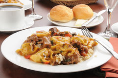 Braised beef tips and tortellini Royalty Free Stock Photography