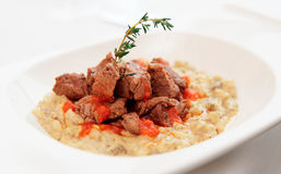Braised beef with vegetable ragout Royalty Free Stock Images