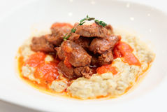 Braised beef with vegetable ragout royalty free stock photos