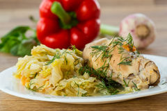 Braised cabbage with meat rabbit Royalty Free Stock Photo