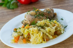 Braised cabbage with meat rabbit Royalty Free Stock Photos