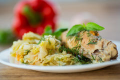 Braised cabbage with meat rabbit Stock Images