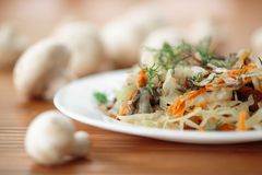 Braised cabbage with mushrooms Royalty Free Stock Photos