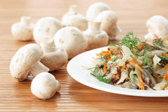 Braised cabbage with mushrooms Stock Image