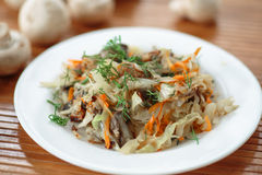 Braised cabbage with mushrooms Royalty Free Stock Photo
