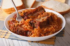 Braised cabbage with pork ribs close up horizontal Stock Photography