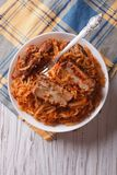 Braised cabbage with pork ribs vertical top view Stock Image