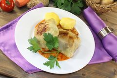 Braised cabbage roulade with potatoes Royalty Free Stock Image