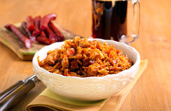 Braised cabbage with sausages Stock Image