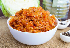 Braised cabbage with spices in a tomato sauce Stock Photo