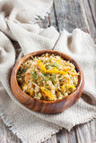 Braised cabbage with yellow bell pepper and pearl barley Stock Photos