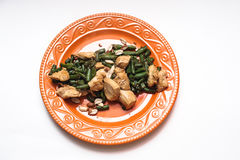 Braised chicken with green beans Royalty Free Stock Photo