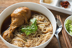 Braised chicken noodle soup Thai style. Royalty Free Stock Images