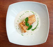 Braised fish fillet with froth sauce Stock Image