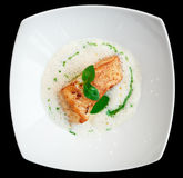 Braised fish fillet with froth sauce Royalty Free Stock Images