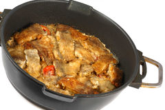 Braised fish in a frying pan Royalty Free Stock Photography