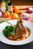 Braised Lamb Shank. With mash potato and vegetables royalty free stock images