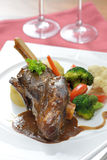 Braised lamb shank serve with red wine Stock Image