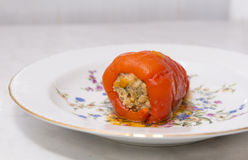 Braised meat delicious stuffed pepper on a plate, dish Royalty Free Stock Photos