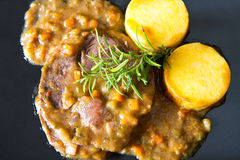 A braised meat with polenta Stock Image