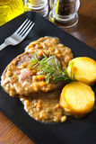 Braised meat with polenta Stock Image