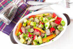 Braised meat stew with beef and vegetables in pot Royalty Free Stock Photo