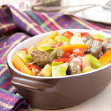 Braised meat stew with beef and vegetables in pot Royalty Free Stock Photography