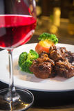 Braised Oxtail. With red wine Stock Photo