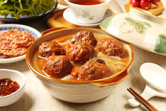 Braised pork balls in soy sauce Stock Photos