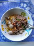 Braised pork noodles with a large cup of Asian-style food. Braised pork noodles large cup asian-style food stock photo
