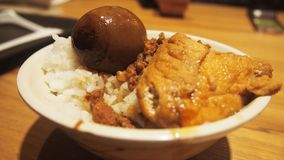 Braised pork rice with tea egg royalty free stock photography