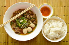 Braised pork stew and spicy chili sauce eat couple with rice Stock Image