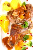 Braised rabbit meat with potato dumplings and vegetables Royalty Free Stock Photo