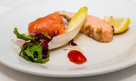 Braised Salmon with Endive Royalty Free Stock Image