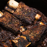 Braised Short Ribs. Delicious braised beef short ribs in red wine sauce Stock Photography