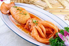 Braised squid. Squid braised, fresh soup on it Royalty Free Stock Photography