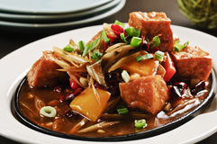Braised tofu with onion and sauces on white plate Stock Photos
