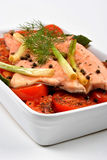 Braised trout with tomato and onion Royalty Free Stock Images