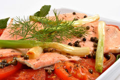 Braised trout with tomato and onion Royalty Free Stock Photography