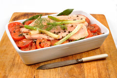 Braised trout tomato and onion Royalty Free Stock Photo