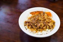 Braised wieprzowina na ryż Obrazy Royalty Free