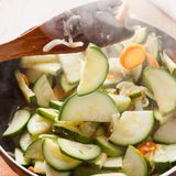Braised zucchini cooking Stock Photography