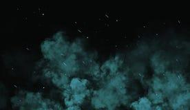 Braises colorées de particules de Perftect sur le fond recouvrements brumeux de texture de brouillard de fumée photo stock
