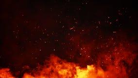 Braises de particules du feu de Perftect sur le fond recouvrements brumeux de texture de brouillard de fumée photographie stock libre de droits