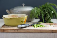 Braising meat with fresh herbs Royalty Free Stock Image