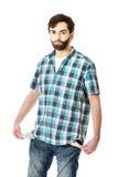 Brak de jonge mens met lege zakken Stock Foto