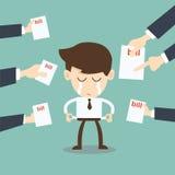 Brak de mens door crediteuren wordt uitgescholden die rekeningen, tekens, betalingsdem houden dat stock illustratie