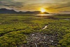 Brak woda w rezerwuarów polach Zdjęcie Stock