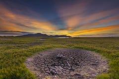 Brak woda w rezerwuarów polach Fotografia Stock