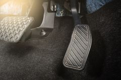 Closeup car pedal. Brake and accelerator pedal of automatic transmission car Royalty Free Stock Photo